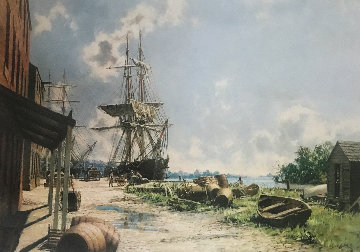 Georgetown: Vessels At the Potomac Wharf in 1842 Limited Edition Print - John Stobart