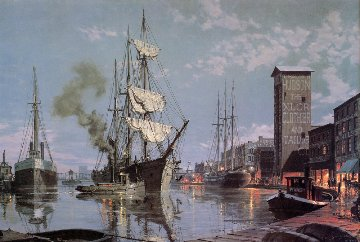 Moonlight Arrival on the Cuyahoga CA 1876 1988 Limited Edition Print - John Stobart