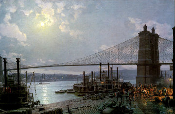 Cincinnati-Moonlight on the Ohio From the Public Landing AP 1880 Limited Edition Print - John Stobart