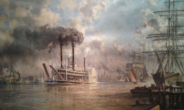New Orleans, The J.M. White Mistress of the Mississippi Leaving the Crescent City in 1887  Limited Edition Print - John Stobart