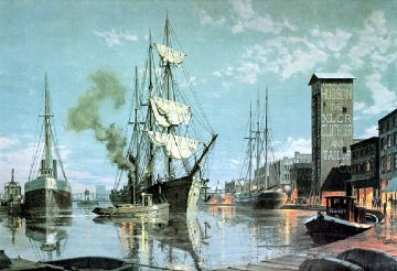 Cleveland Arrival on Cuyahoga CA 1876 Limited Edition Print - John Stobart