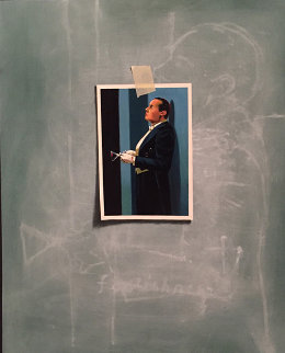 Butler's in Love - Postcard Blue Trompe L'Oeil 2014 27x23 Original Painting - Mark Stock