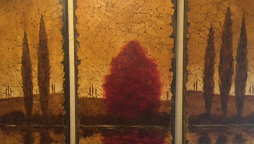 Reflections Tryptich 2006 48x78 Original Painting - Rolinda Stotts