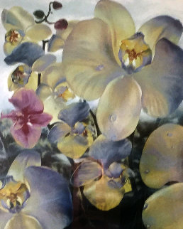 Orchids Watercolor 1990 36x48 Watercolor - Brett Livingstone Strong