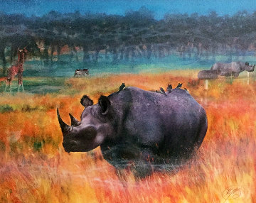 Rhino Watercolor 1998 36x48 Watercolor - Brett Livingstone Strong