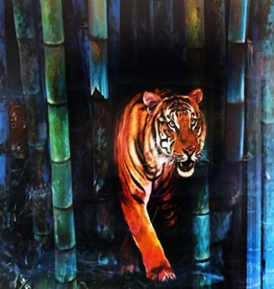 Tiger Watercolor  1998 36x48 Watercolor - Brett Livingstone Strong