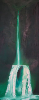 Waterfall 1973 60x24 Original Painting - George Sumner