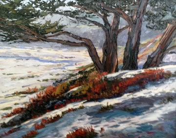 Along Scenic Drive Carmel Beach California 17x20 Original Painting - Carol Swinney