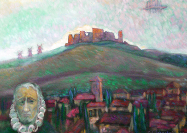 Ghastly Castle, Don Quixote Country with Self-portrait 1997 28x32