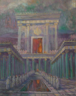 Herod's Temple in Jerusalem 2001 40x32 Original Painting - Edward Tabachnik