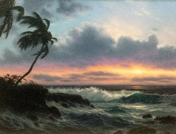 Last Light Across the Horizon 1990 42x52 Original Painting - Roy Tabora