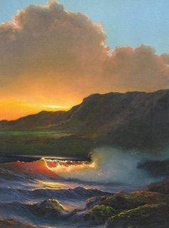 Kai Poi (Breaking Waves) 1985 Kauai 22x9, Hawaii  Original Painting - Roy Tabora