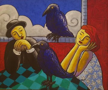 Living with Crows 2005 41x49 Original Painting - Jacques Tange