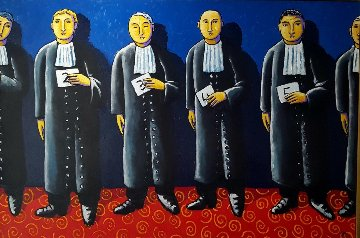Line Up 2011 47x70 Original Painting - Jacques Tange
