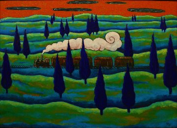 Black Train Running East 1997 41x56 Original Painting - Jacques Tange