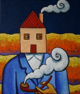 Traveling Home 2015 39x33 Original Painting - Jacques Tange