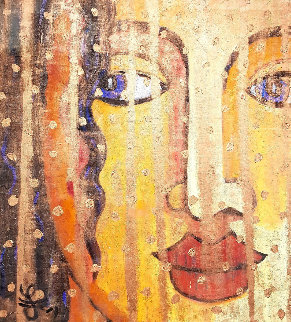 Golden Veil 2019 43x39 Original Painting - Jacques Tange