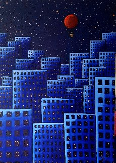Red Balloon 2018 55x39 Original Painting - Jacques Tange