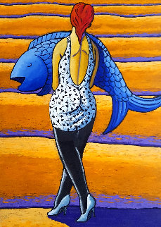 Desert Fish 2019 55x39 Original Painting - Jacques Tange