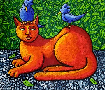 Cat in Paradise 2018 33x33 Original Painting - Jacques Tange