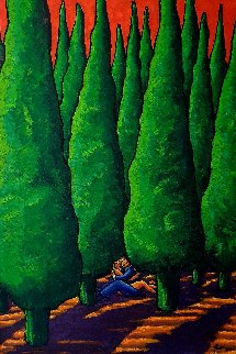 Forest With Lovers 2017 59x43 Original Painting - Jacques Tange