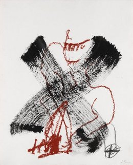 X  2006 35x27 Original Painting - Antoni Tapies