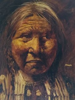 American Indian 1970 45x33 Original Painting - Jorge  Tarallo Braun