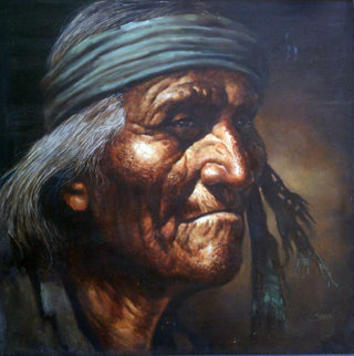 Indian (Portrait) 1976 44x44 Original Painting - Jorge  Tarallo Braun