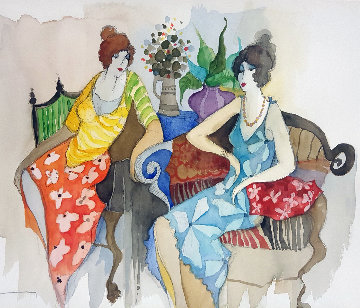 Friendship Watercolor 2009 19x26 Watercolor - Itzchak Tarkay