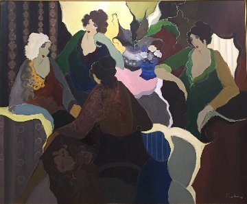 Ladies Group Scene 68x81 Original Painting - Itzchak Tarkay