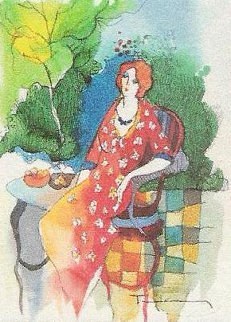 Garden Cafe Watercolor 1990 24x21 Watercolor - Itzchak Tarkay