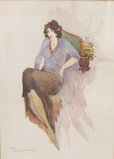 Untitled Woman 2002 35x21 Watercolor - Itzchak Tarkay