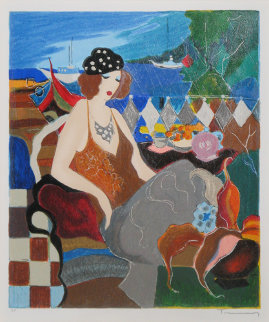Lady By The Seaside AP Limited Edition Print - Itzchak Tarkay