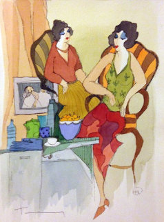 Decadent Lifestyle Watercolor 2005 Original Painting - Itzchak Tarkay