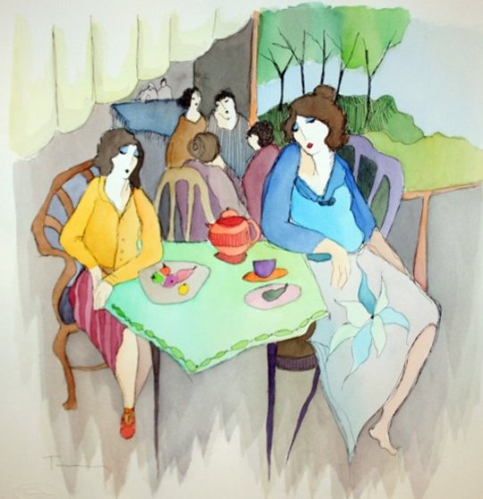 At the Cafe Watercolor 18x18