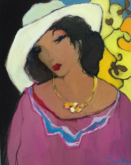 Women in a White Hat 1990 23x27 Original Painting - Itzchak Tarkay
