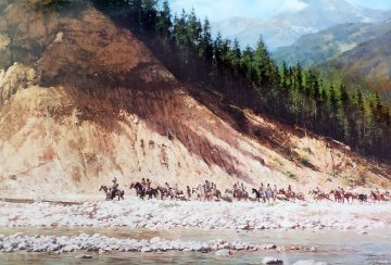 Moving Day on the Flathead 1981 AP Limited Edition Print - Howard Terpning