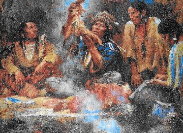 Opening the Sacred Bundle 1995 Limited Edition Print - Howard Terpning