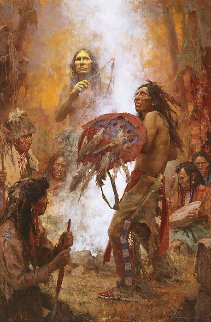Transferring the Medicine Shield  AP Limited Edition Print - Howard Terpning