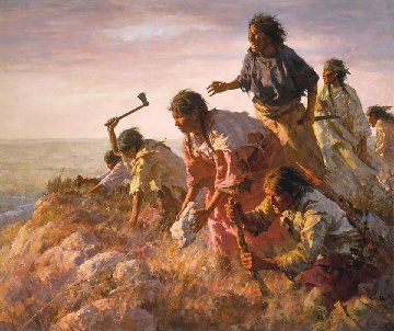 Digging in Art Sappa Creek  AP 1991 Limited Edition Print - Howard Terpning