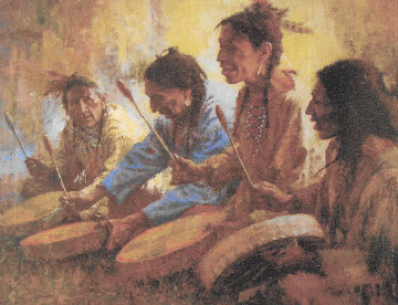 Four Sacred Drummers 1991 Limited Edition Print - Howard Terpning