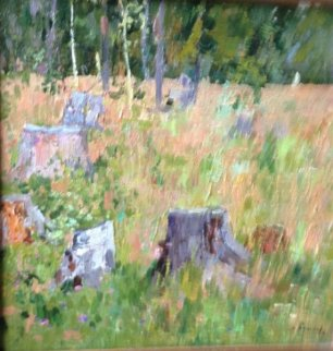 Clearing of the Field 1961 15x15 Original Painting - Nikolai Efimovich Timkov