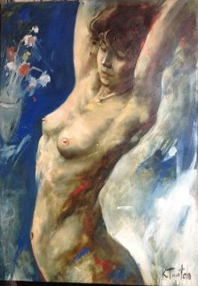 Untitled Nude 2003 37x26 Original Painting - Kim Tkatch