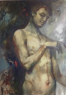 Untitled Male Nude 2003 Original Painting - Kim Tkatch