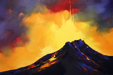 Fire Storm 2005 48x36 Hawaii Original Painting - Thomas Leung