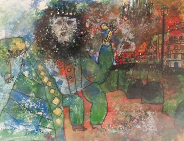 Bearded Man With Flower Limited Edition Print - Theo Tobiasse