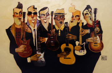 Six Strings 2007 Embellished Lennon, Garcia, Wood and the Boys Limited Edition Print - Todd White