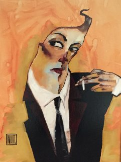 Remarque  (Smoker) 2009 26x32 Original Painting - Todd White