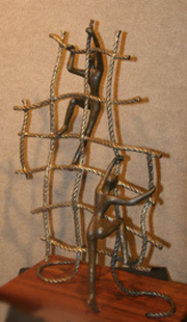 Striving Bronze Sculpture 2000 26 in Sculpture - Tolla Inbar
