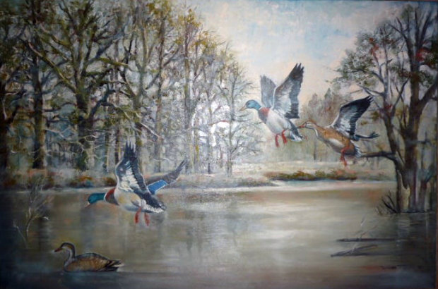 Ducks Over the Pond 1983 31x43